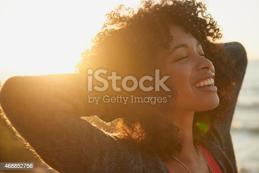 Closeup shot of an attractive young woman enjoying nature