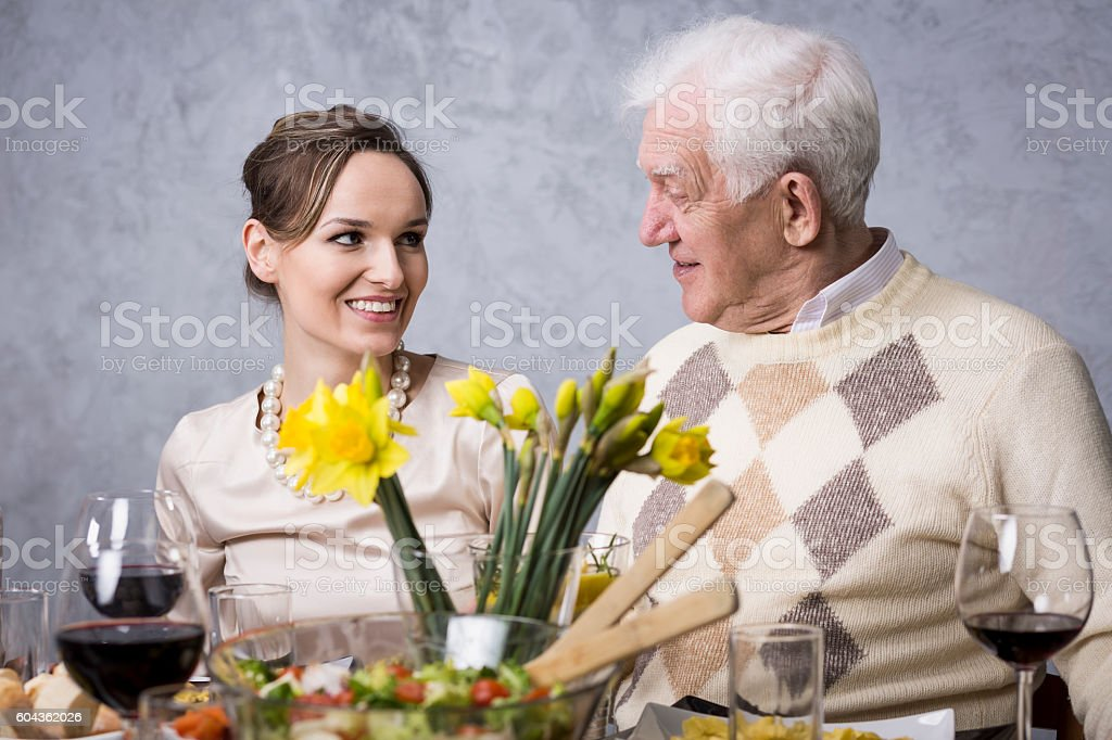 Moments of agreement without words between the generations stock photo