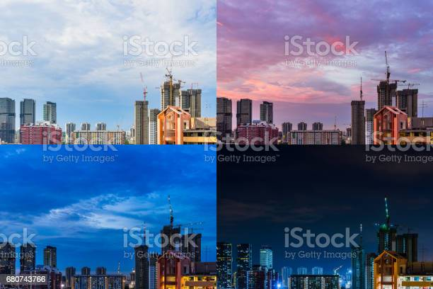 Photo of 4 Moments of Day to Night Construction site Downtown Singapore