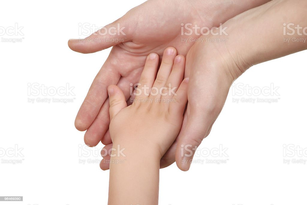 Mommy and her child hand royalty-free stock photo