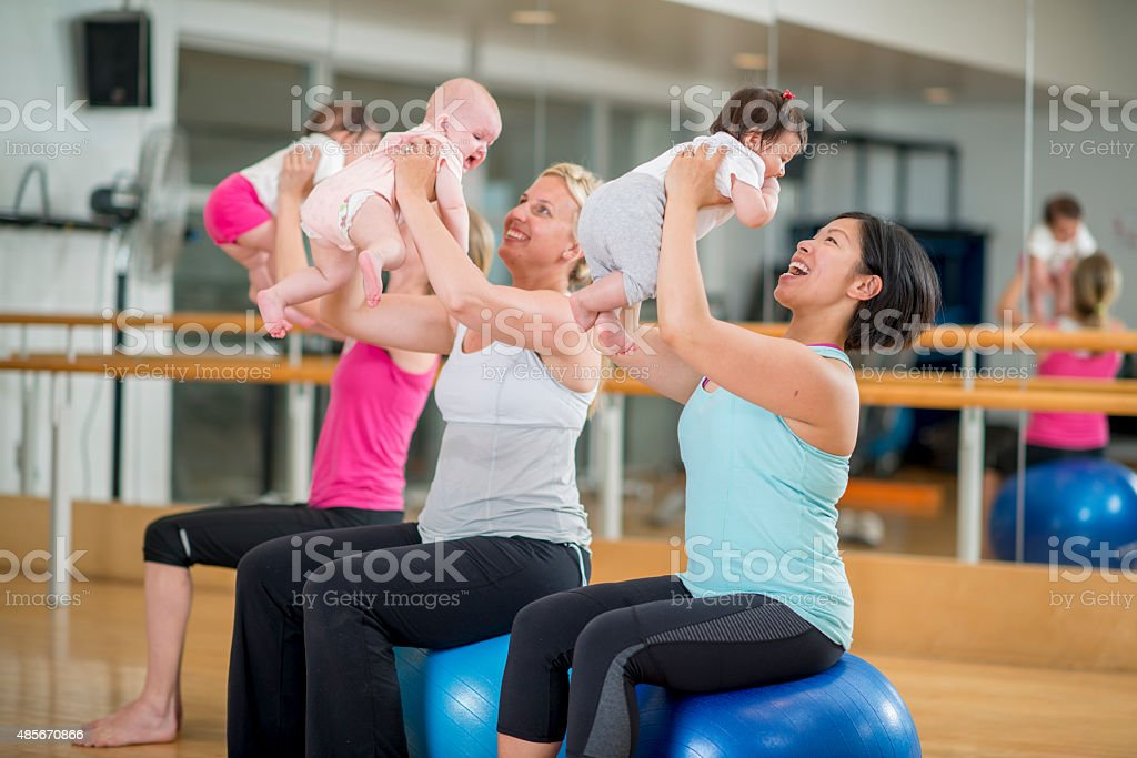 Mommy and Me Exercise Class stock photo