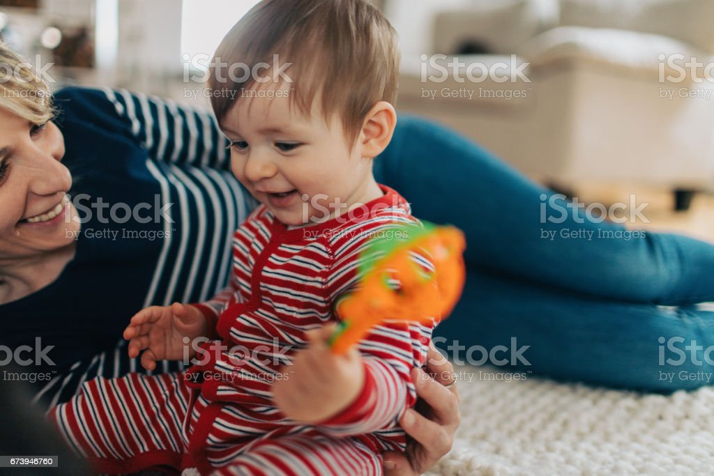 Mommy and son moments stock photo