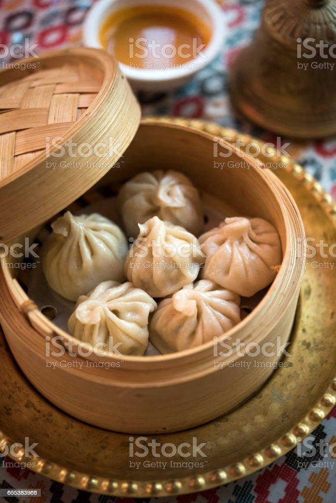 Momo, traditional Nepali dumplings stock photo