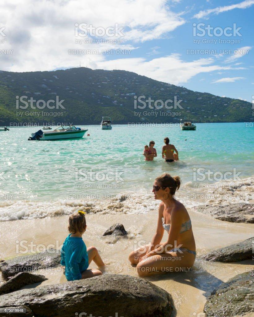 Moms and kids at Magens Bay, St. Thomas, USVI stock photo