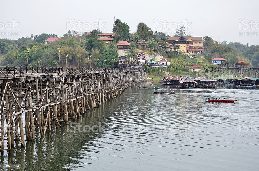 Mon Bridge, homes, waterfront royalty-free stock photo