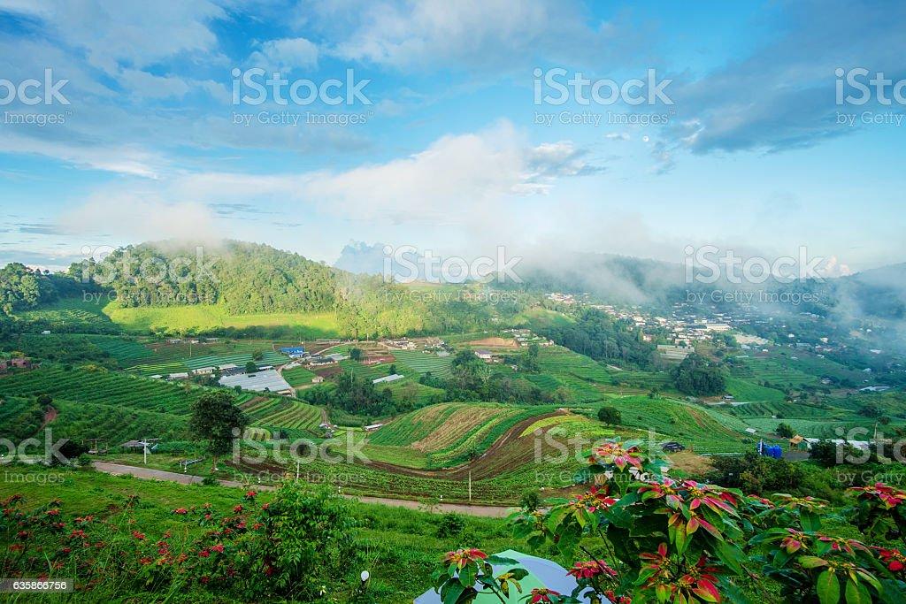 Mon Cham mountain landscape,  Chiang Mai, Thailand. stock photo