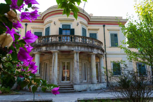 Mon Repos palace in Corfu island, Greece stock photo