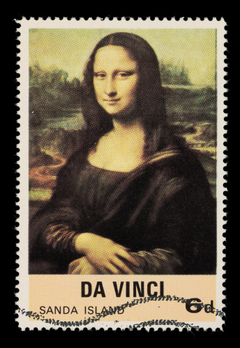 A postage stamp of Da Vinci's Mona Lisa taken with a 100mm macro lens; no sharpening.
