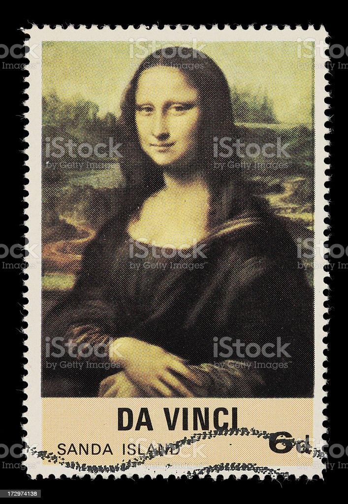 Mona Lisa postage stamp stock photo