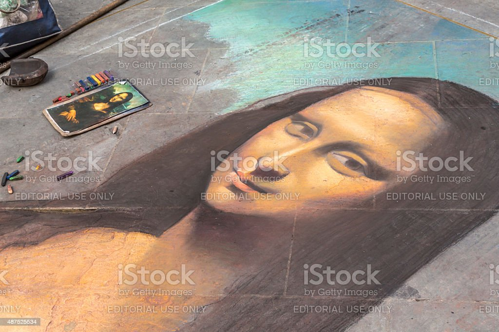 Mona Lisa unfinished in Florence, Italy stock photo