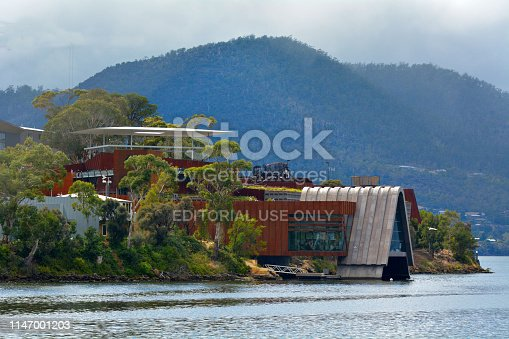 Hobart, Tasmania - March 20, 2019: Mona Museum of Old and New Art in Hobart Tasmania, Australia.