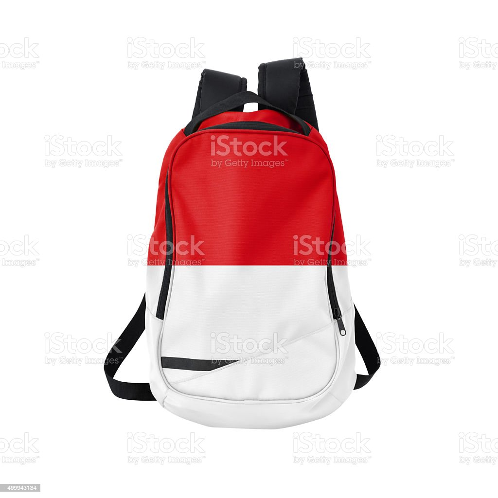 Monacan flag backpack isolated on white w/ path stock photo