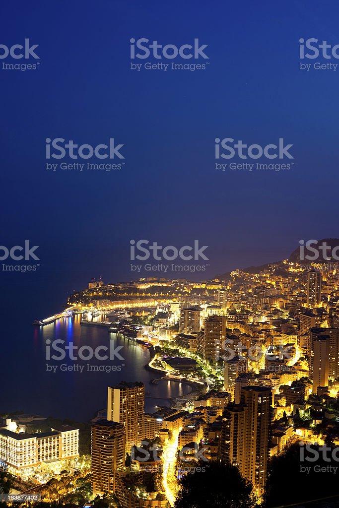 Monaco (Monte Carlo) aerial view at night royalty-free stock photo