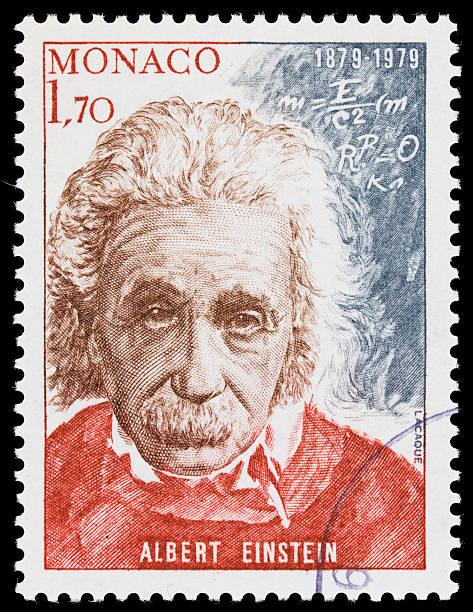 monaco albert einstein briefmarke - berühmte physiker stock-fotos und bilder