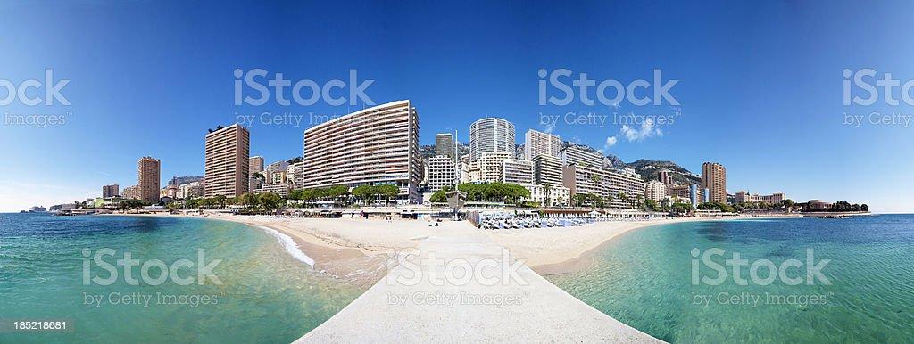 Monaco Beach Cityscape Panorama stock photo
