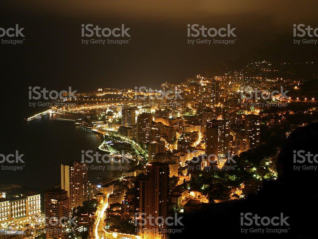 Monaco Cityscape by Night stock photo