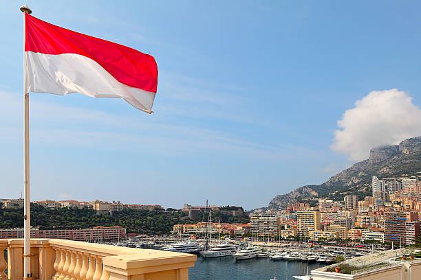 Monaco flag and Monte Carlo skuline. stock photo