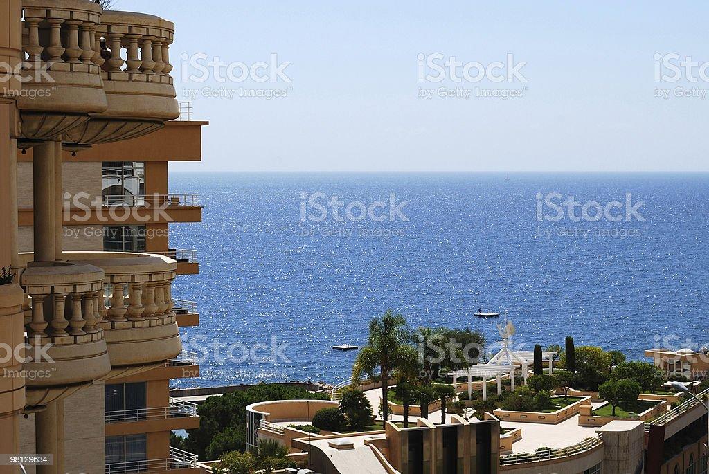 Monaco: glamour hotel and sunlit sea royalty-free stock photo
