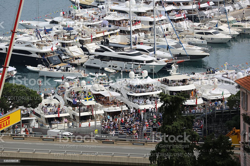 F1 Monaco Grand Prix 2016 - View From the Yachts stock photo
