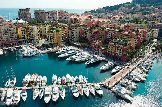 Monaco Harbor With Yachts And Speed Boats Stock Photo - Download Image Now