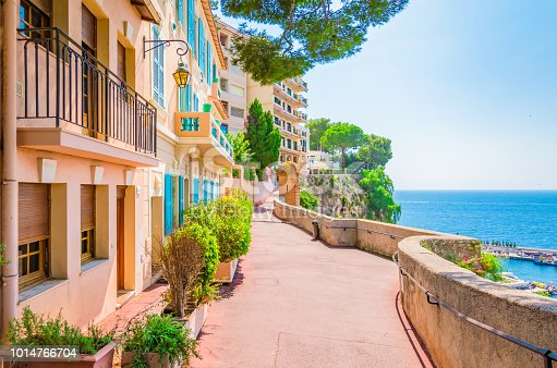 Typical walking street with colorful houses along the seaside of Monaco.