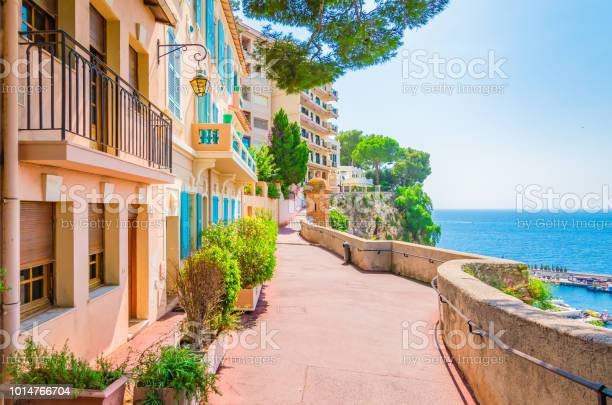 Monaco Monte Carlo Monaco Village With Colorful Architecture And Street Along The Ocean Stock Photo - Download Image Now