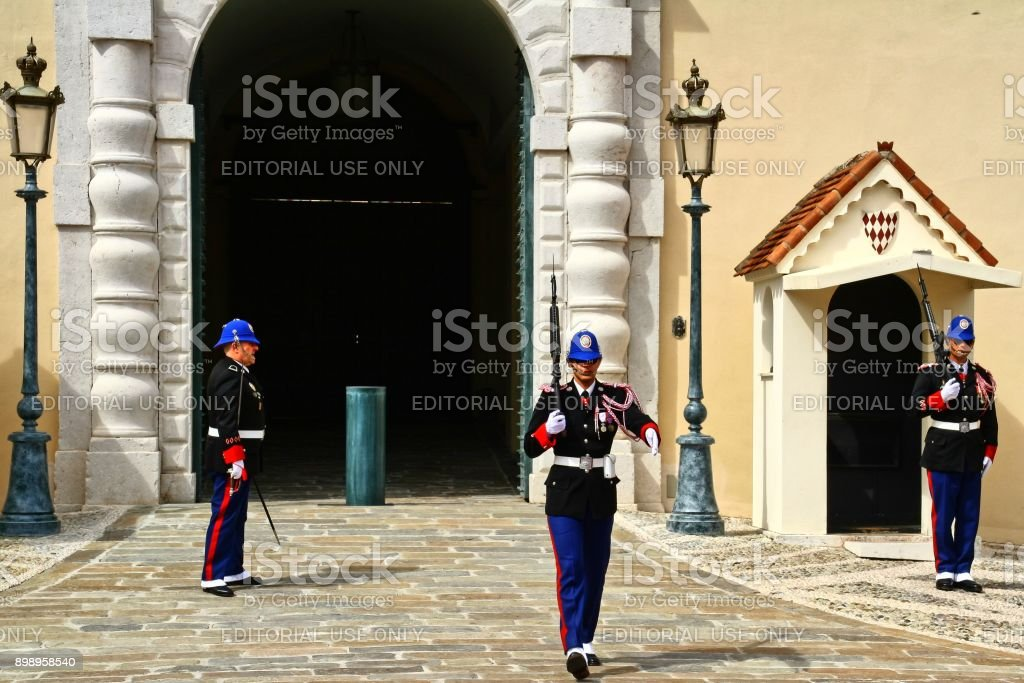 Monaco, Monte Carlo, Prince´s Palace, 26.03.2017, changing of the guard, stock photo
