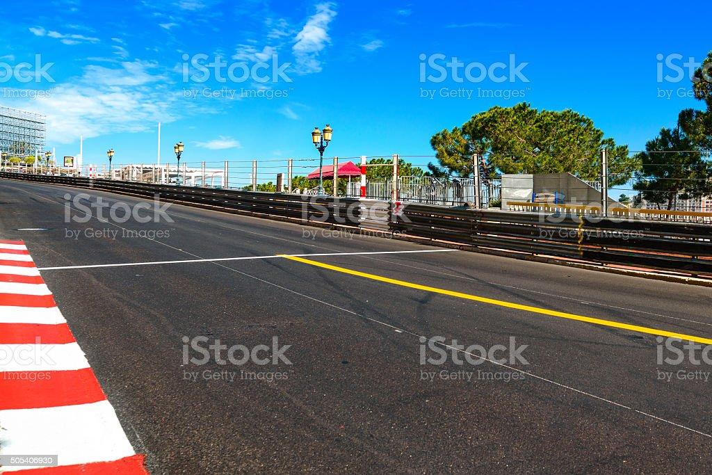 Monaco, Monte Carlo. Sainte Devote straight race asphalt, Grand stock photo