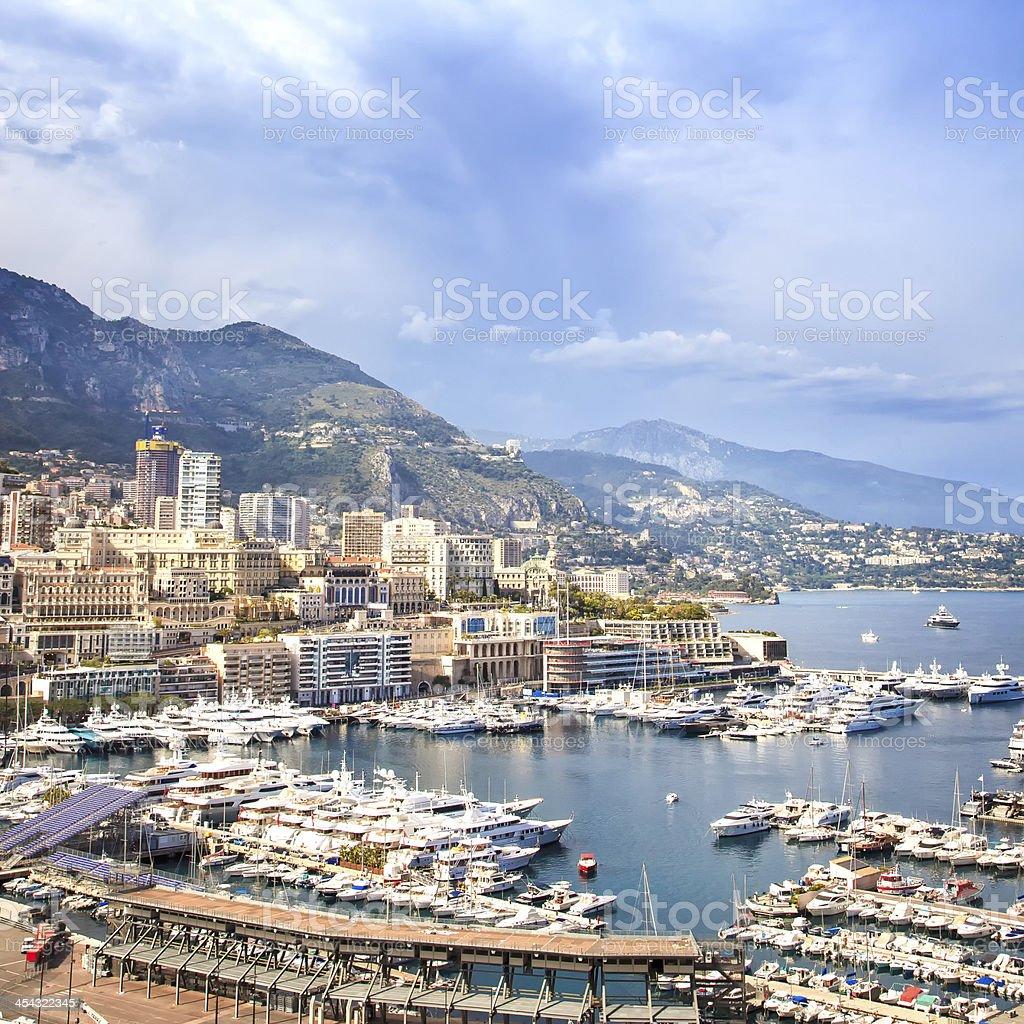 Monaco Montecarlo principality aerial harbor view. Azure coast. France stock photo
