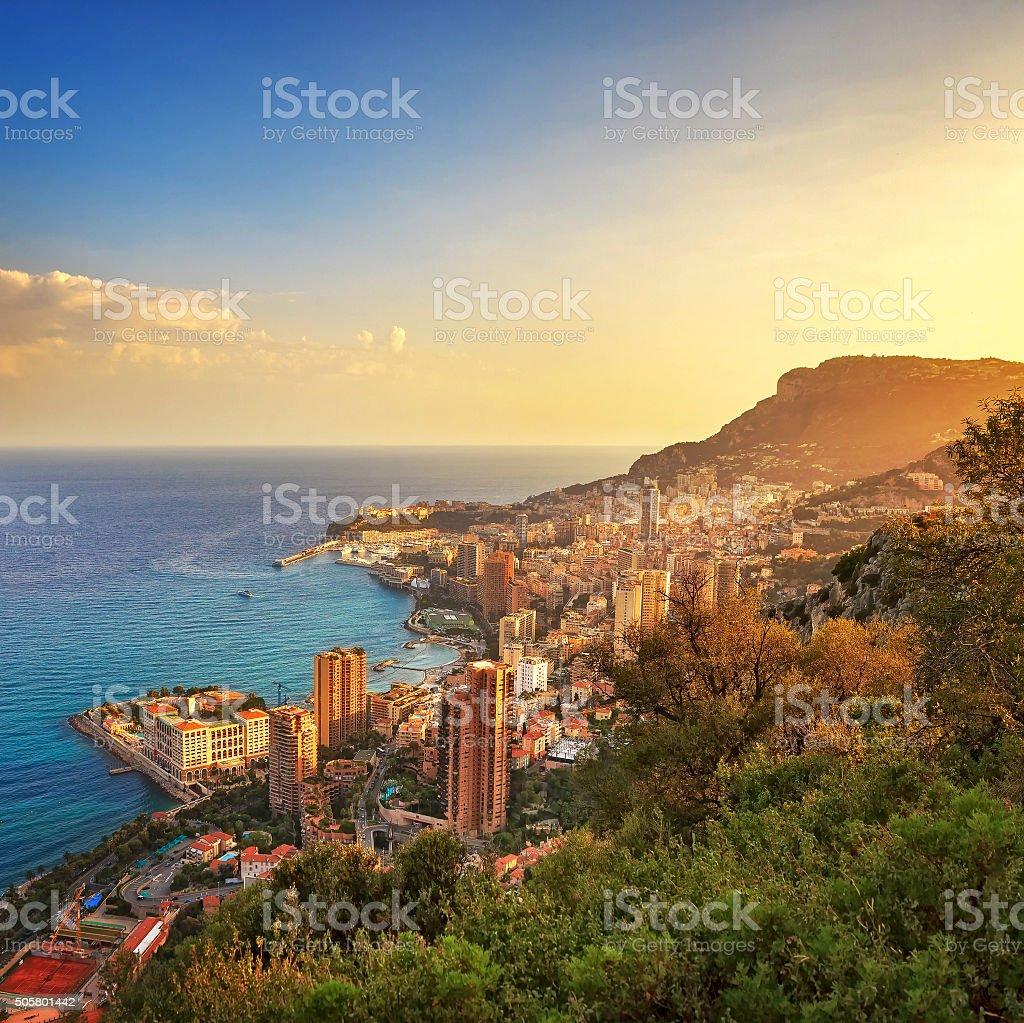 Monaco Montecarlo principality aerial view. Azure coast. France stock photo