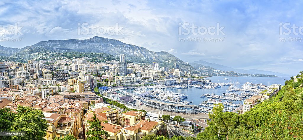 Monaco Montecarlo principality aerial view cityscape. Azure coas stock photo