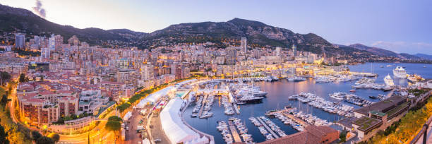 Monaco Panoramic View at Dusk stock photo
