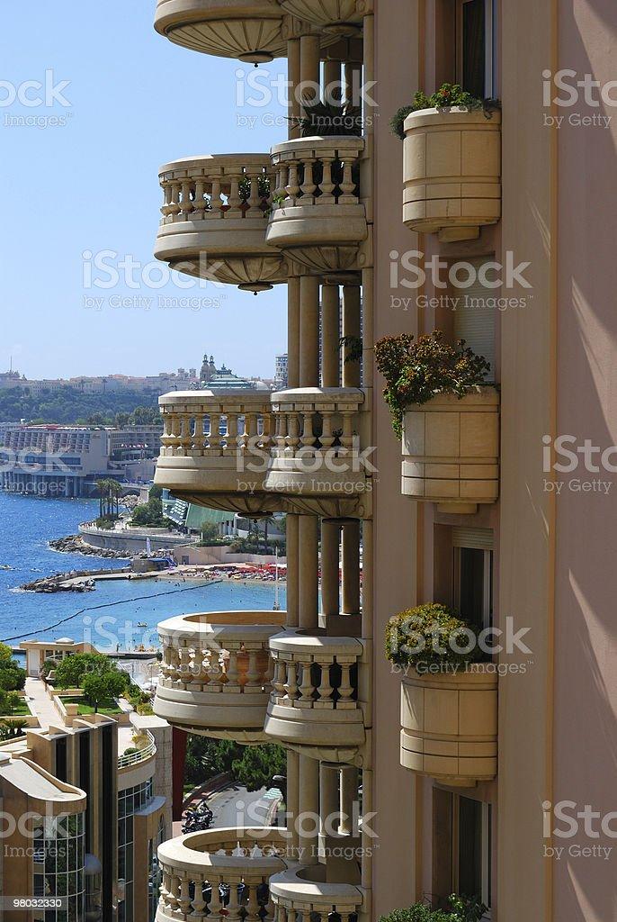 Monaco round balcony and blue sea royalty-free stock photo