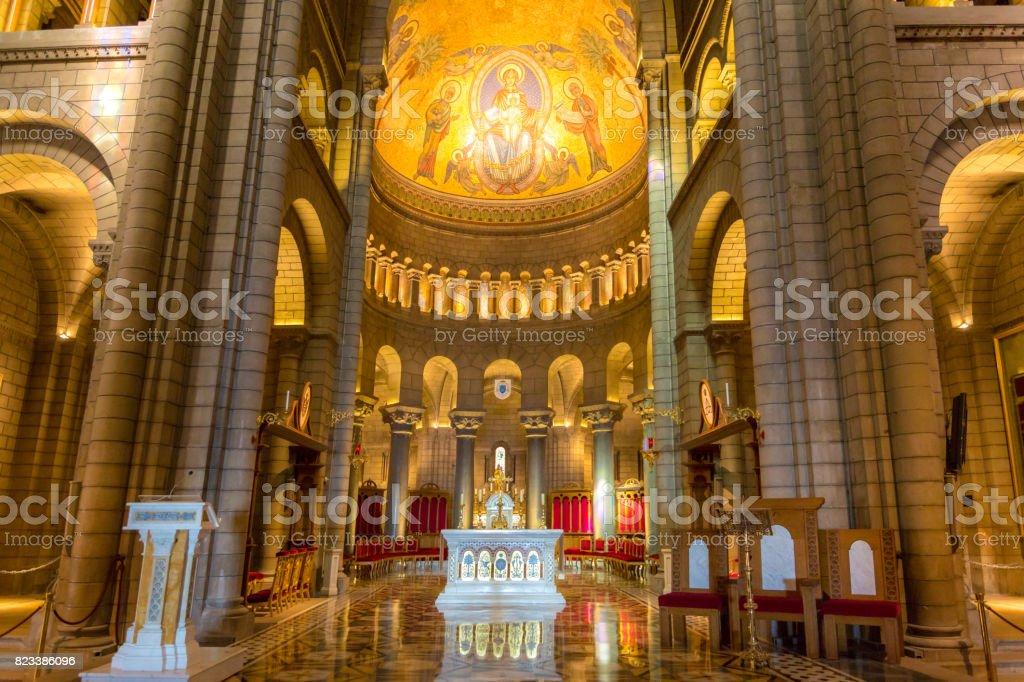 Monaco Saint Nicholas Cathedral Interior stock photo