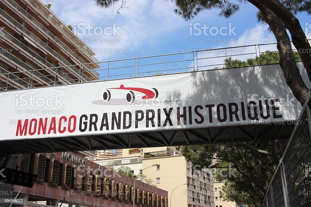 Monaco Grand Prix Historique Signboard stock photo