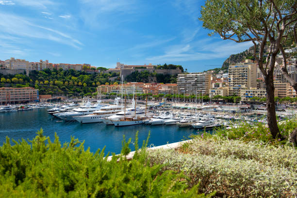 Monaco: View of Port Hercule, La Condamine and Monaco-Ville Principality of Monaco - 02.09.2018: View of Port Hercule, La Condamine and Monaco-Ville with the Prince's Palace in background ville stock pictures, royalty-free photos & images