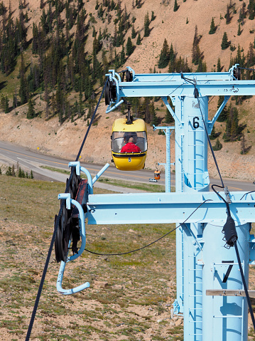 Monarch Pass, CO - 22 Juny 2016: Touristic in a cable car are going up to Monarch Ridge (elevation 12,000 ft/3700m) and the Continental Divide in the Colorado Rocky Mountains.