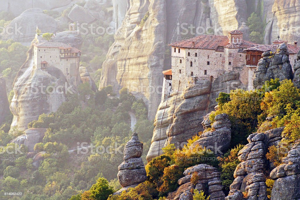 Monasteries suspended in the air, Greece stock photo
