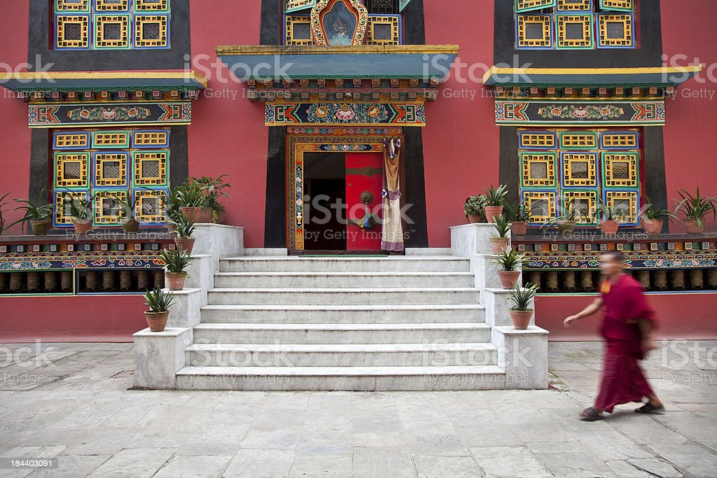 Monastery and Monk royalty-free stock photo