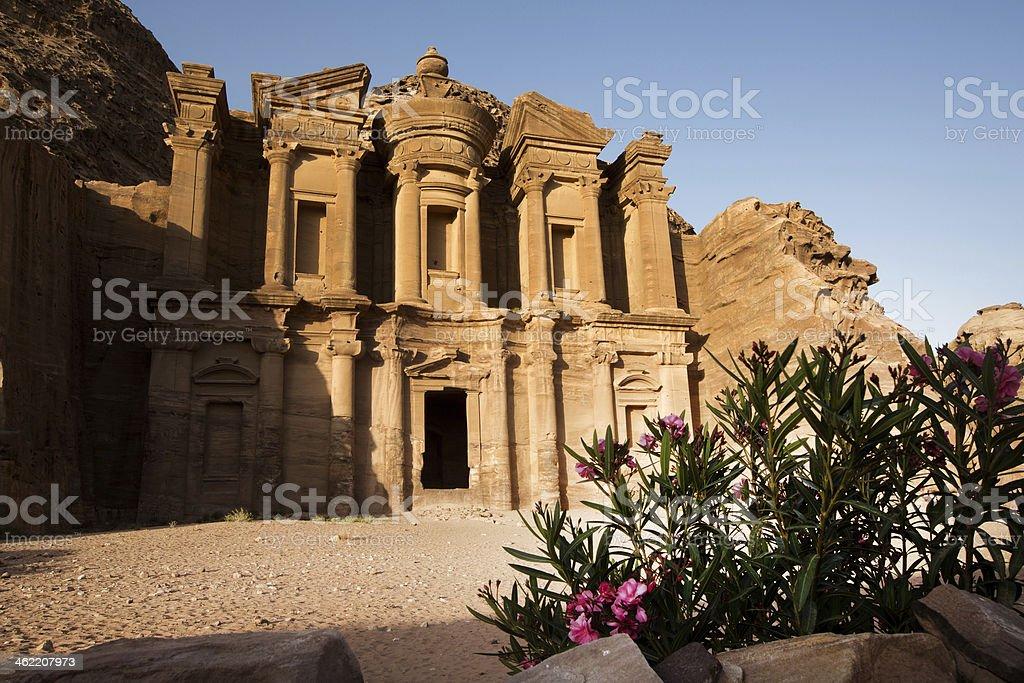 Monastery at Ancient city of Petra, Jordan stock photo
