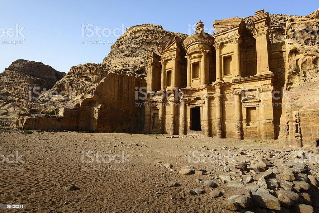 Monastery at Petra, Jordan stock photo