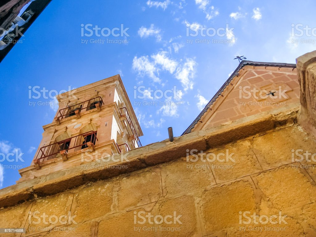 Monastery bell tower stock photo