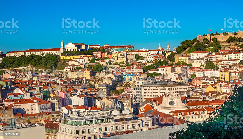 Monastery Castle Sao Jorge Belevedere Miradoura Outlook Lisbon Portugal foto royalty-free