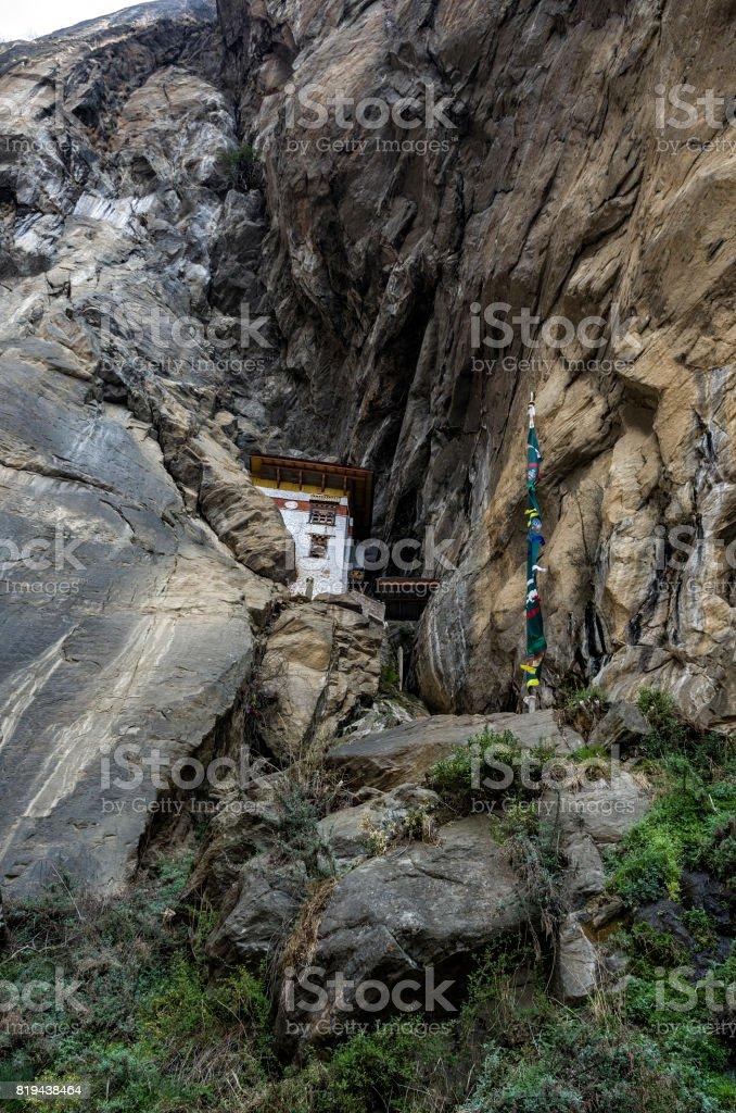 Monastery cave where a monk named Khado Yeshi Tsogyal practised €˜Vajrakilaya€™,Tiger's Nest, Taktshang monastery, Bhutan stock photo