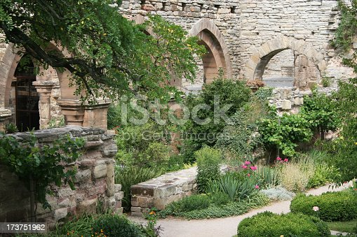 Ruins of an ancient monastery cloister abbey with pointed archs