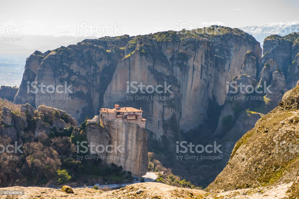Monastery complex in Meteora mountains, Thessaly, Greece.  UNESCO World Heritage List stock photo