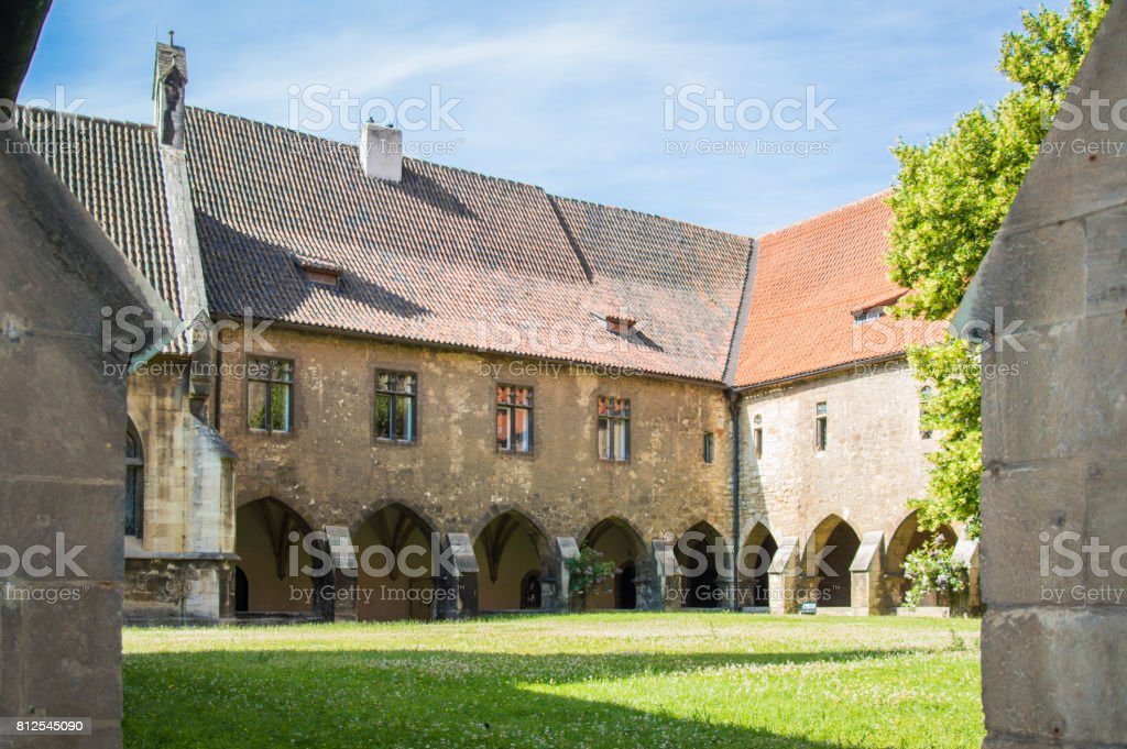 Monastery courtyard, Cathedral of German city Naumburg, Germany stock photo