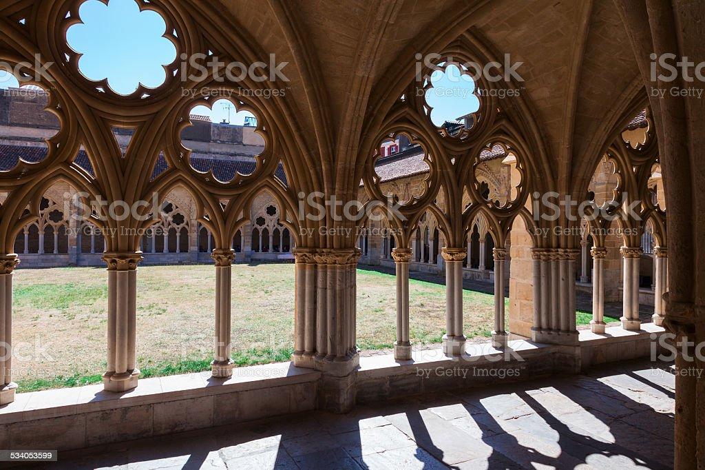 Monastery courtyard, gothic stock photo