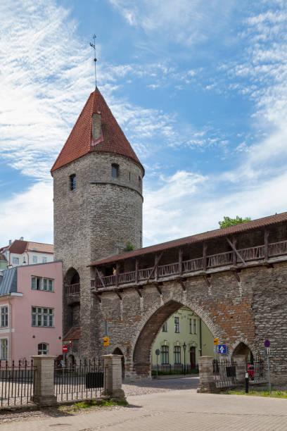 Monastery Gate and Nun's Tower in Tallinn stock photo
