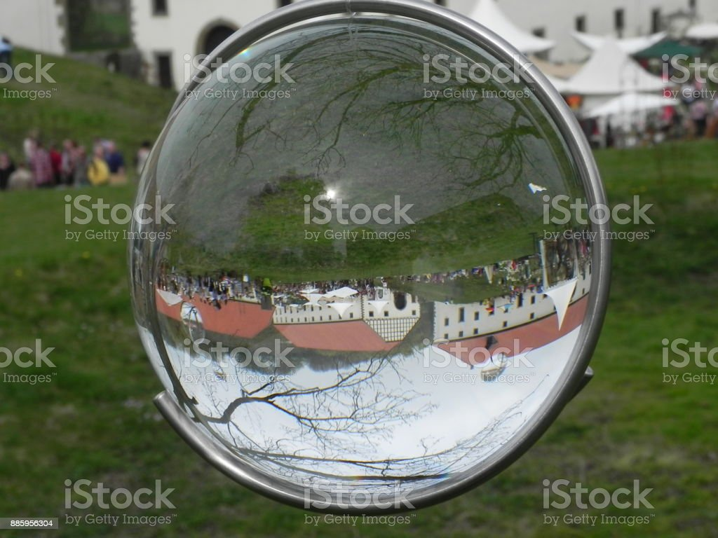 Monastery in the crystal ball stock photo